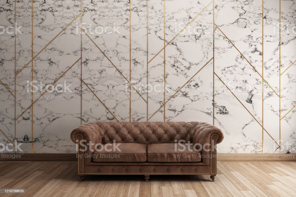 Classic Sofa With White Marble Pattern Wall Wooden Floor 3d Illustration Stock Photo Download Image Now Istock