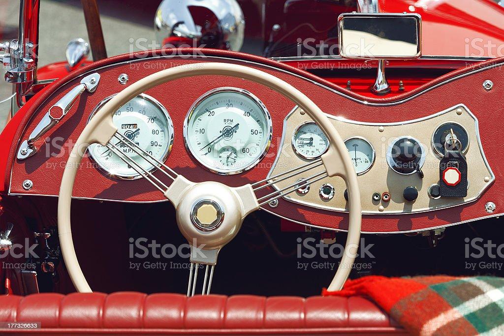 Classic Sports Car Dashboard Detail stock photo