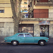 Classic sports car parked in the street