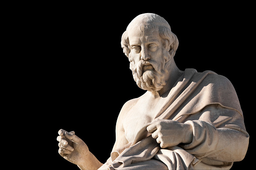 classic statue of Plato from side close up, academy of Athens