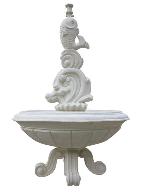bassin classique de fontaine en pierre d'isolement au-dessus du blanc - fontaine photos et images de collection