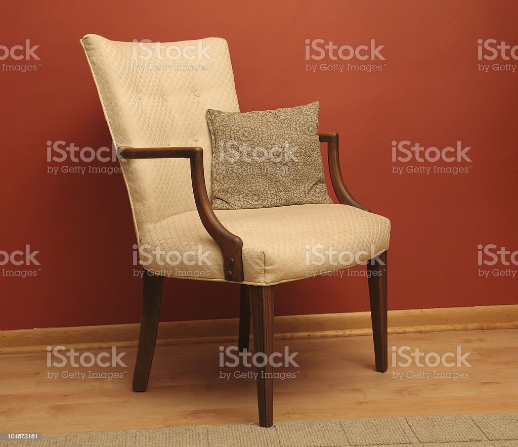 Classic style arm chair in red room royalty-free stock photo