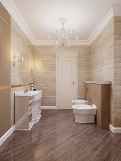 Classic style bathroom with toilet and bidet in beige and yellow.