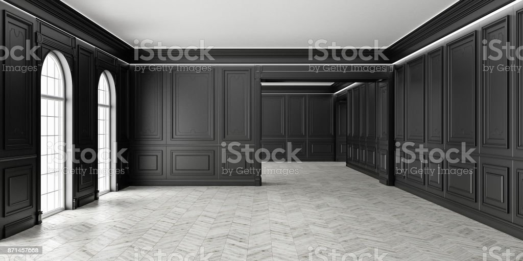 3D Classic style empty black room with parquet and classic wall pannels, big window and home interior illumination. stock photo