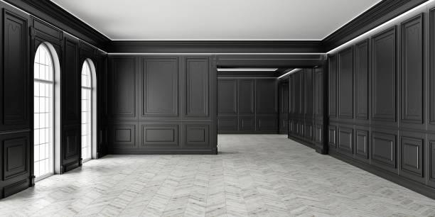 3D estilo clásico vacío negro habitación con parquet y clásico pannels de la pared, ventana grande y hogar iluminación interior. - foto de stock