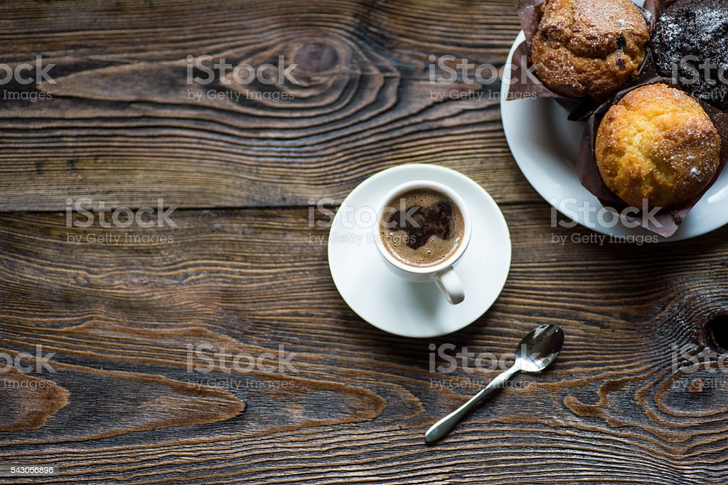 Classic style espresso shot with chip muffin stock photo