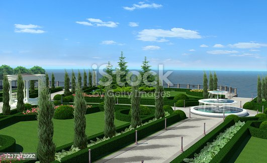 istock Classic style knot garden quad, 3D rendering 1217373992