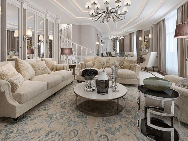 klassischen stil wohnzimmer design - wandleuchte treppenhaus stock-fotos und bilder