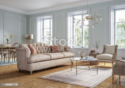 Classic style living room interior 3d render with beige colored furniture and wooden elements