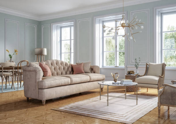 Classic style living room interior - 3d render Classic style living room interior 3d render with beige colored furniture and wooden elements serbia and montenegro stock pictures, royalty-free photos & images