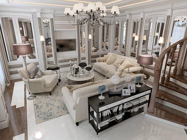 klassischen stil wohnzimmer - wandleuchte treppenhaus stock-fotos und bilder