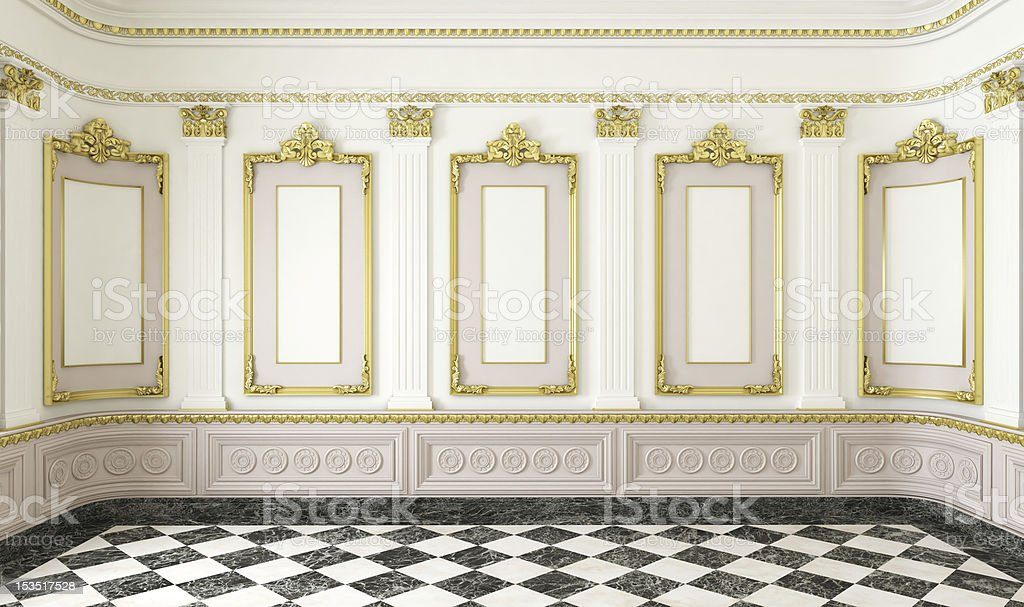 classic style room with golden details stock photo
