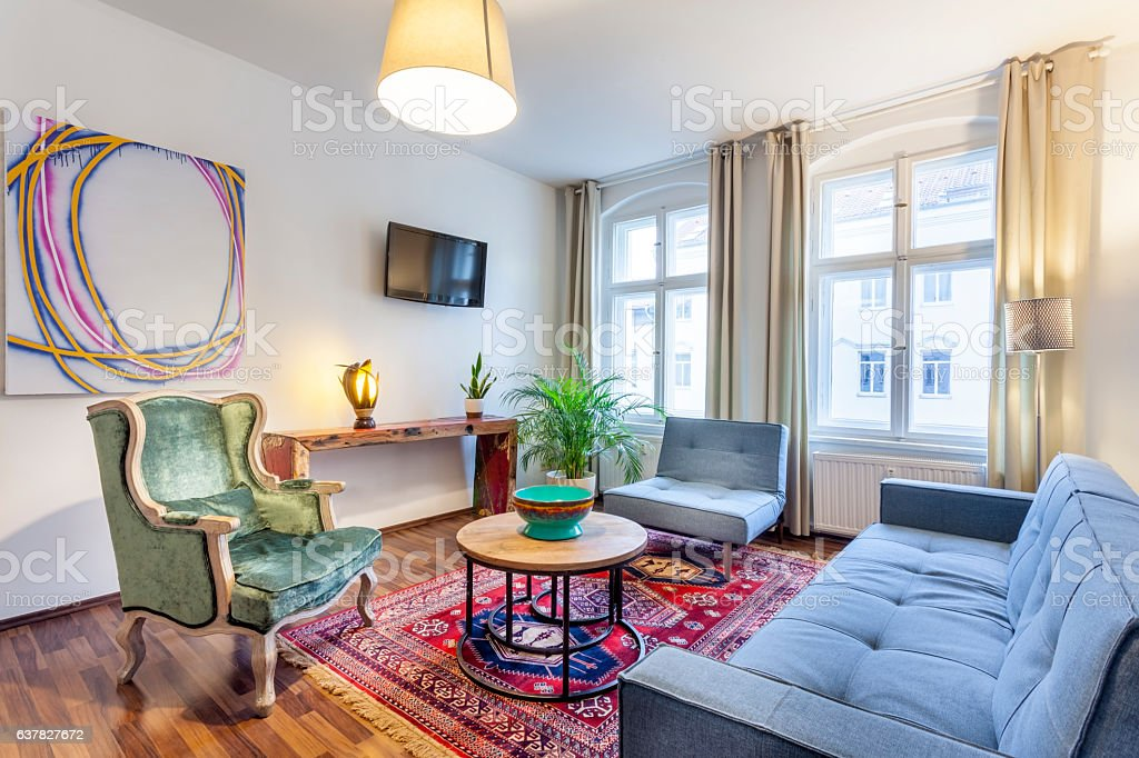 Classic Styled Interior Living Room with Danish Design Couch stock photo