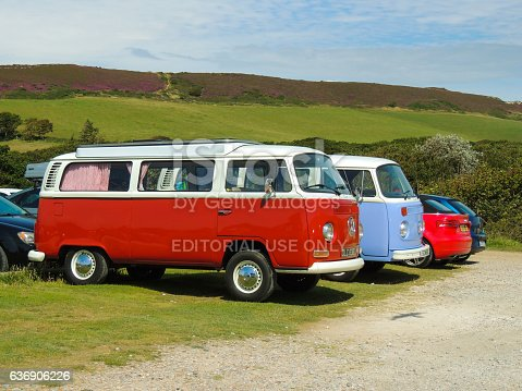 Freshwater, Isle of Wight, United Kingdom - August 4, 2016: Red and pastel blue classic Voltswagen VW