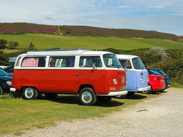 Classic T2 VW Camper Vans stock photo