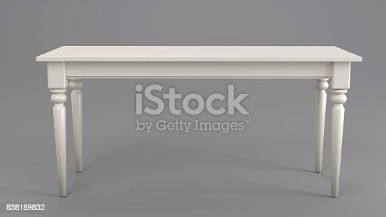 Off White Classic Table isolated on a Grey Studio Background.
