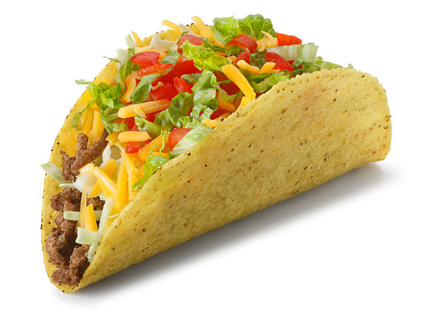 """Classic taco isolated on white background with soft shadow """"A classic taco on white with soft shadow.To see more of my Mexican food images, click on the link below:"""" taco stock pictures, royalty-free photos & images"""