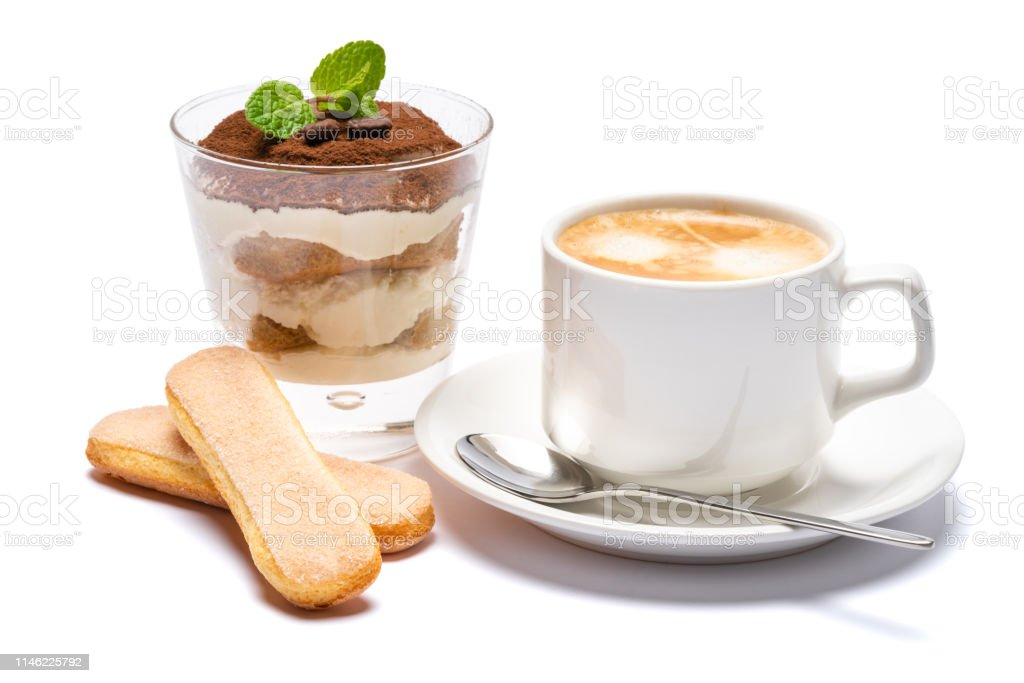 Classic italian tiramisu dessert in a glass and cup of coffee...