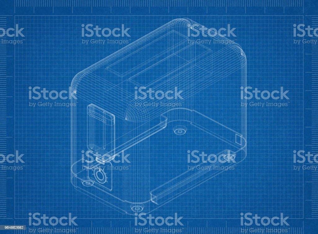Classic Toaster Architect blueprint royalty-free stock photo