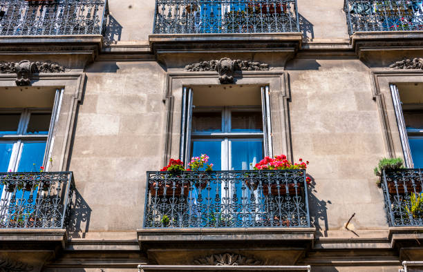 classic townhouses in Cannes, France stock photo
