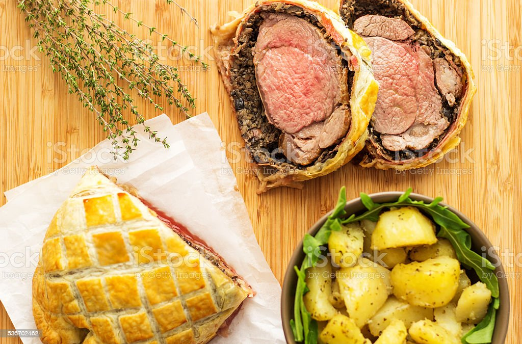 Classic Traditional Beef Wellington stock photo