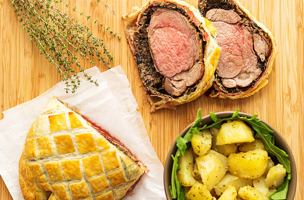 Classic Traditional Beef Wellington stock photo