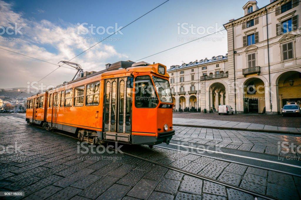 Classic Tram on Main Street in Turin, Italy - foto stock
