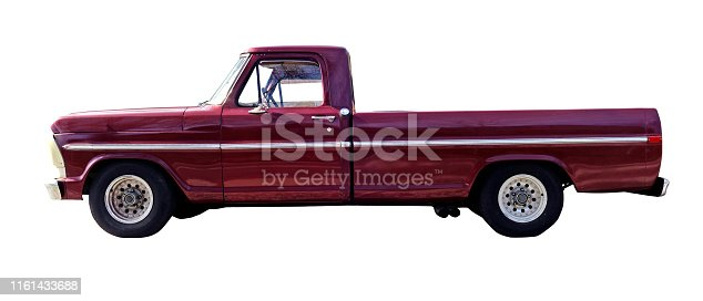 Classic 1970s sport truck isolated on white.