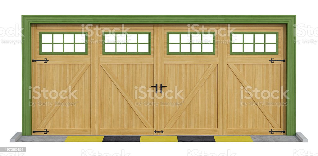 Classic two car wooden garage on white stock photo