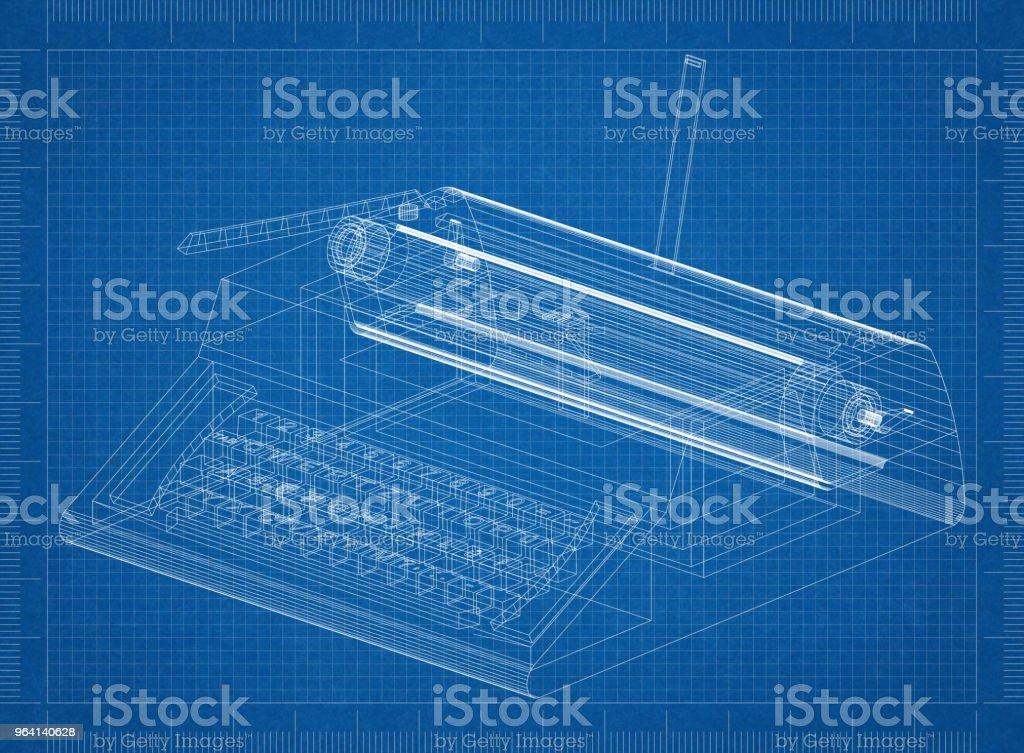 Classic Typewriter Architect Blueprint Stock Photo