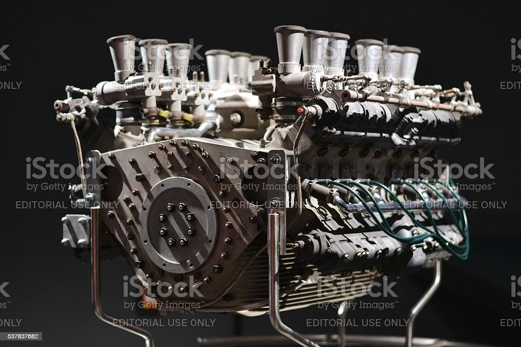 Classic V12 engine from racing car stock photo