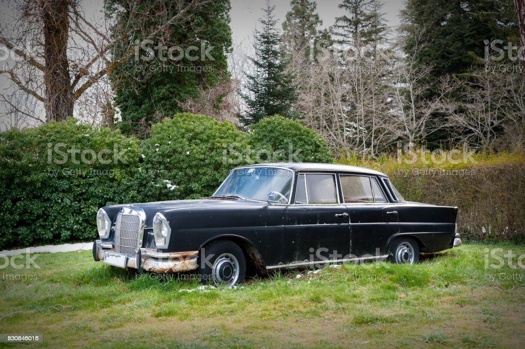 classic vehicle on the lawn in the foreground stock photo