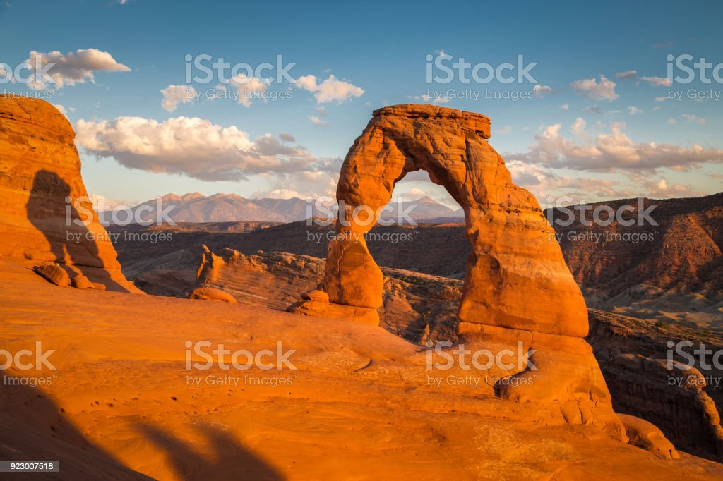 Classic view of famous Delicate Arch at sunset, Utah, USA stock photo