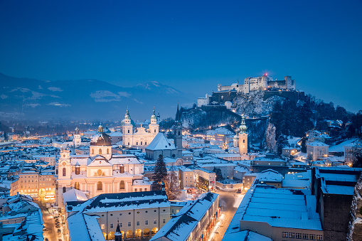 Salzburg Christmas Time.Classic View Of Salzburg At Christmas Time In Winter Austria Stock Photo Download Image Now