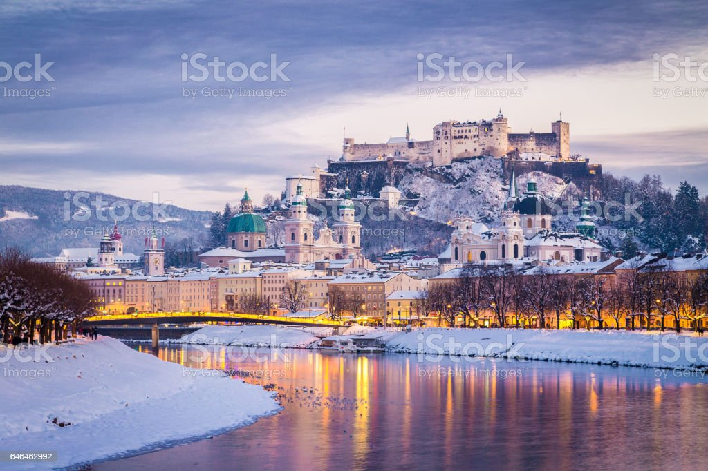 Salzburg Christmas Time.Classic View Of Salzburg At Christmas Time In Winter Austria