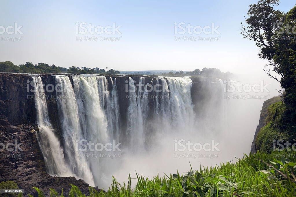Classic view of Victoria Falls stock photo