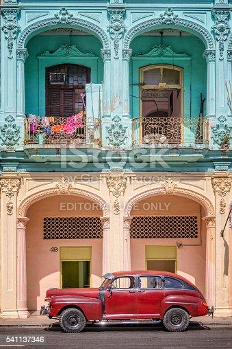 Havana, Cuba - April 18, 2016: Classic vintage car and coloful colonial buildings near the Capitol