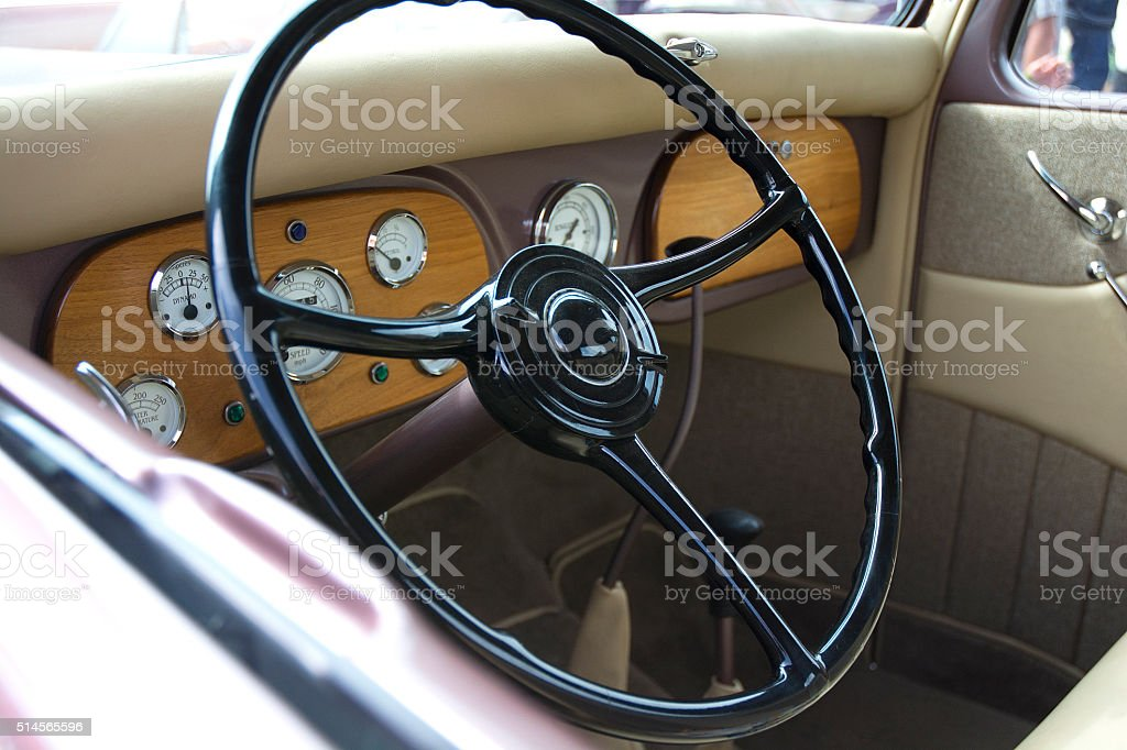Classic Vintage Car Automobile Interior Dashboard And Tan Leather ...