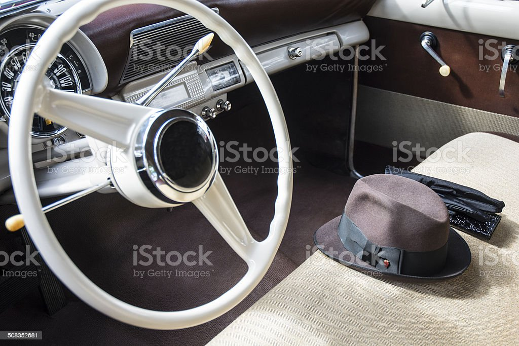 Classic Vintage Car Interior In Purple And White Colors