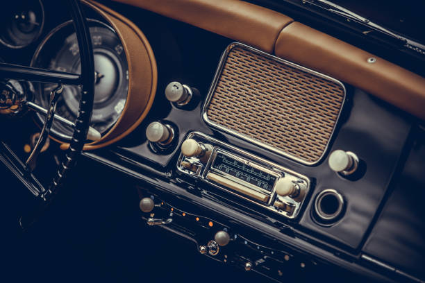 Classic vintage car stereo stock photo