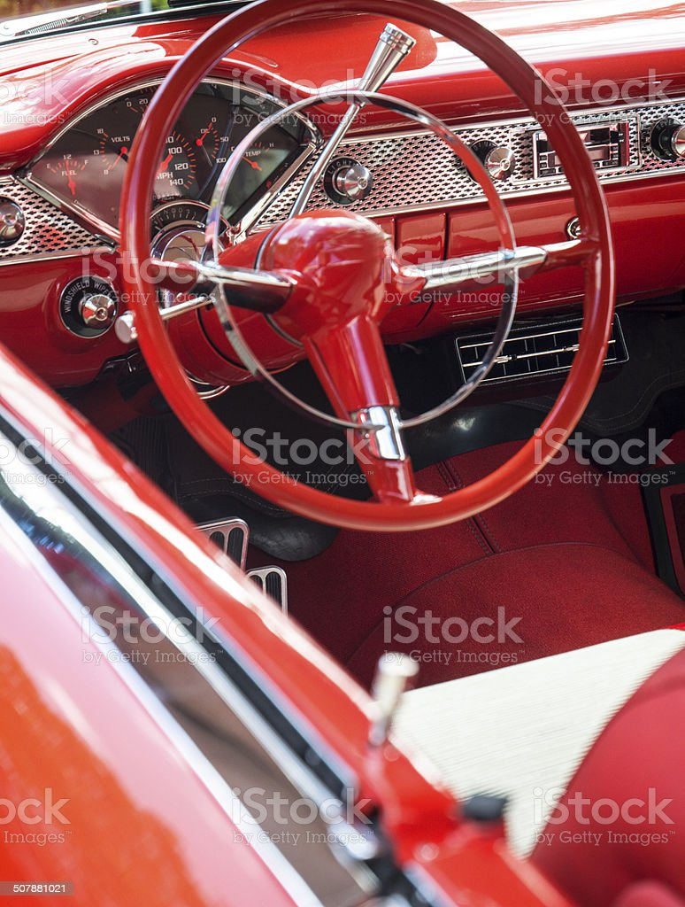 Classic Vintage Collector Candy Apple Red Car Interior royalty-free stock photo