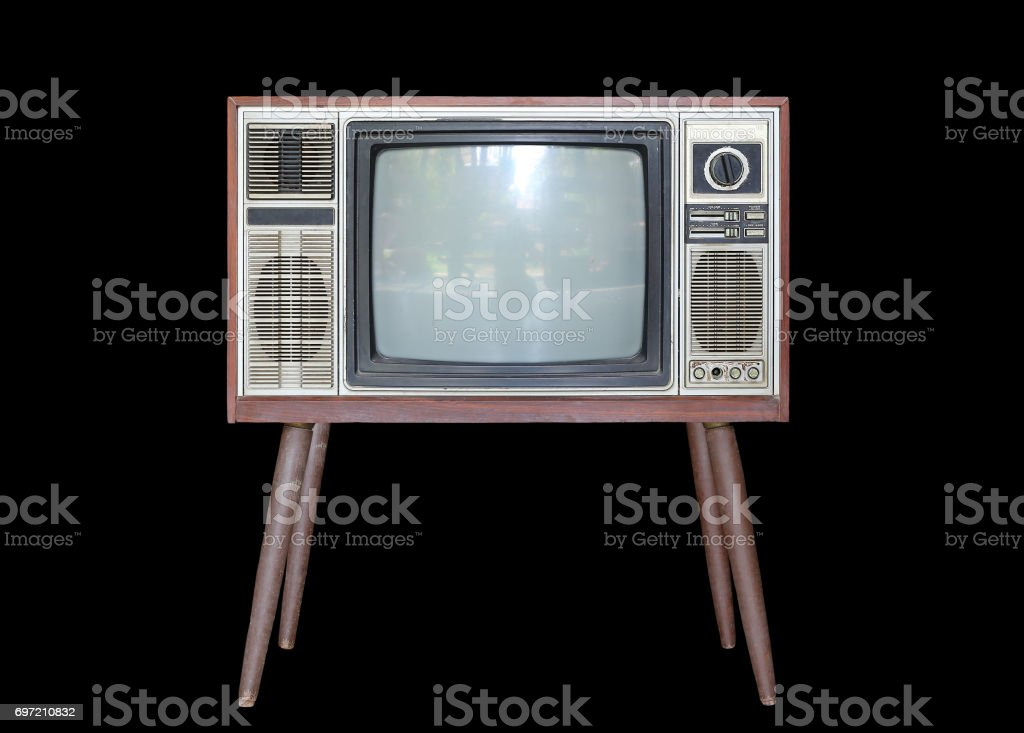 Classic Vintage Retro Style old television isolated on black background. stock photo
