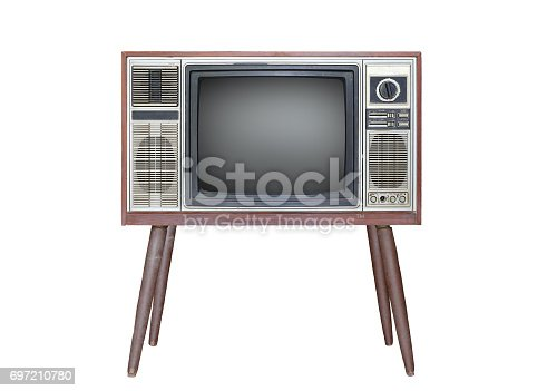 istock Classic Vintage Retro Style old television isolated on white background. 697210780