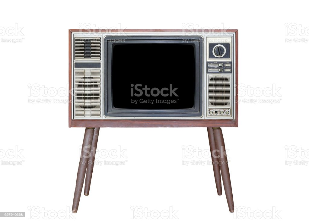 Classic Vintage Retro Style old television isolated on white background. stock photo