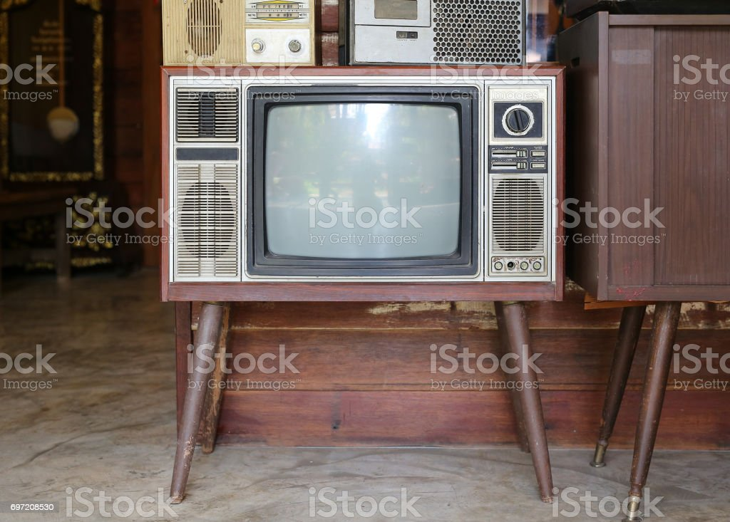 Classic Vintage Retro Style old television. stock photo