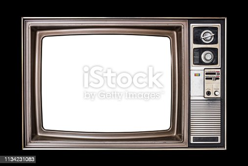 Classic vintage retro style old  television with cut out screen,old wood television  isolated on black  background.