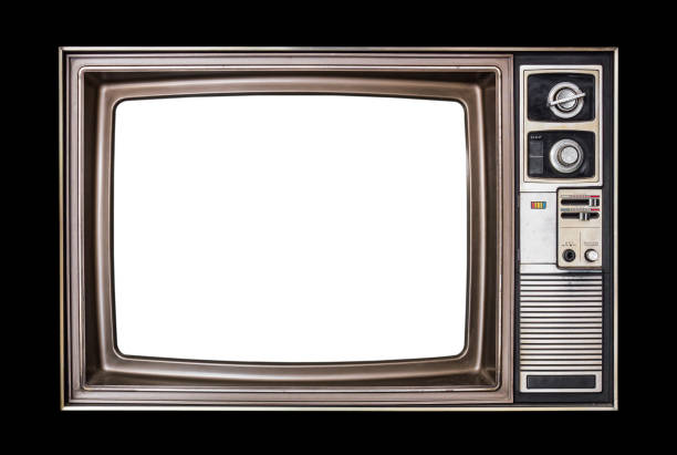 classic vintage retro style old  television with cut out screen,old wood television  isolated on black  background. - white background стоковые фото и изображения