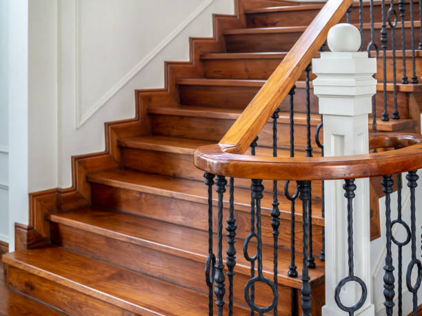 classic vintage staircase in contemporary house - staircase stock photos and pictures