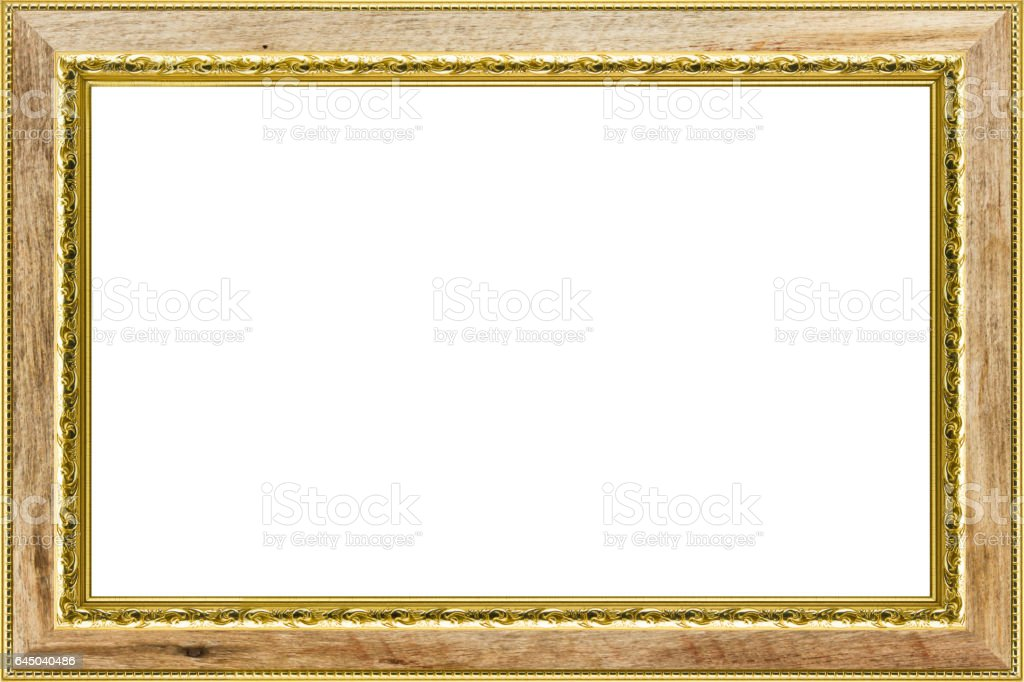 Classic Vintage Wood With Gilded Frame Isolated On White Background ...