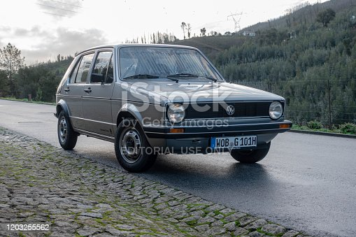 Raiva, Portugal - 11 December, 2019: Classic Volkswagen Golf I (1974-1993) stopped on a street. This model was the most popular Volkswagen vehicles in 70s and 80s.